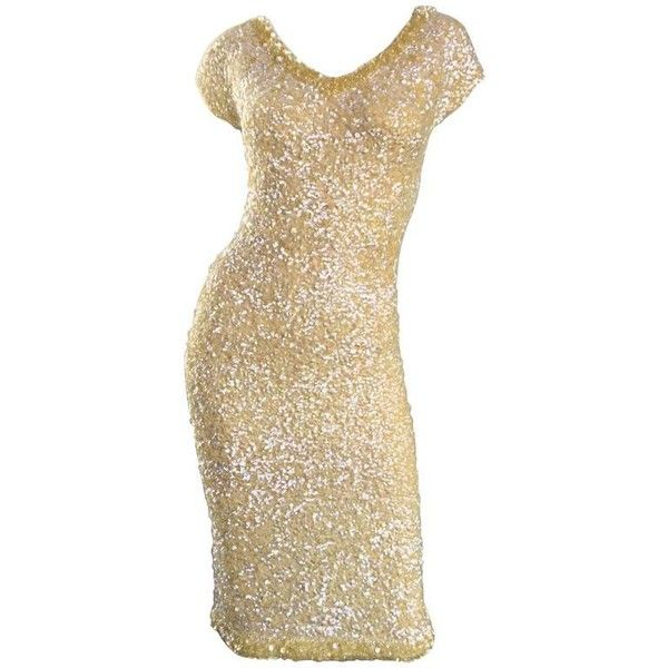 Preowned 1950s Gene Shelly's Pale Yellow Fully Sequined 50s Vintage... ($1,095) ❤ liked on Polyvore featuring dresses, yellow, stretch dresses, vintage dresses, sequined dresses, yellow sequin dress and yellow dresses
