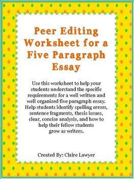 peer editing worksheet for compare and contrast essay Peer editing checklist for compare and contrast essay directions: read through the entire essay for a clear understanding of what the essay is trying to communicate.