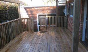Pine deck, handrail, and pergola construction