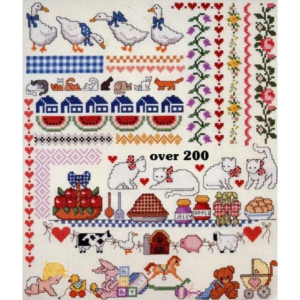 200+ Borders Cross Stitch Patterns Fruit Cats Hearts Baby Flowers Cows