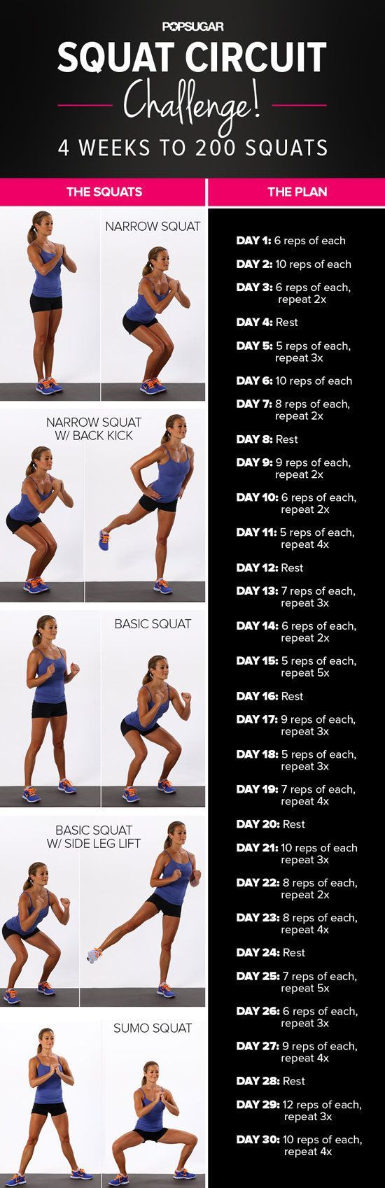 This squat challenge involves five different squat variations that you repeat and eventually work up to 200 reps in 30 days. It's no joke!