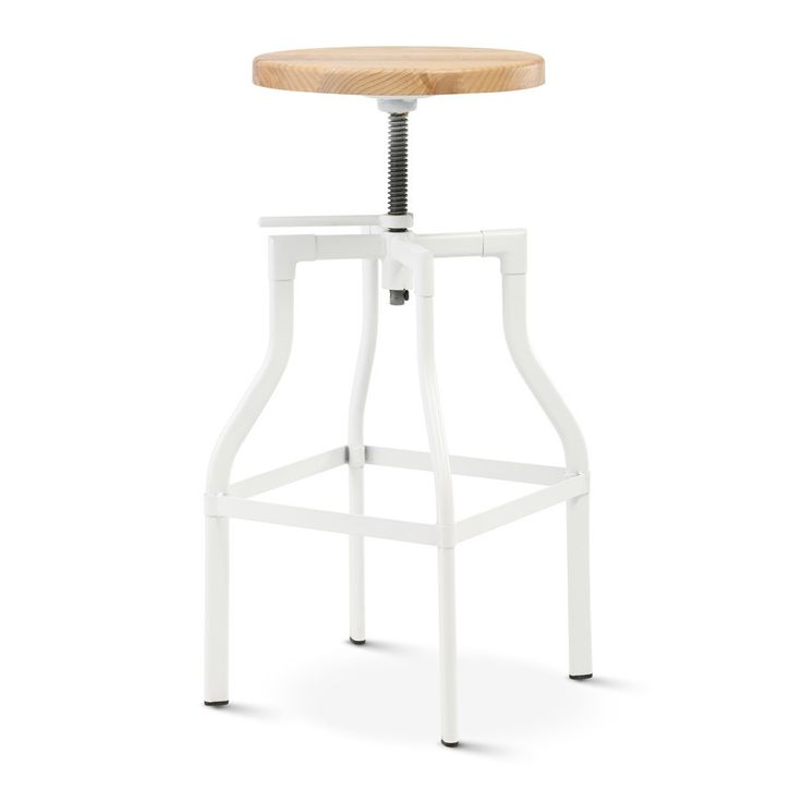 Max Industrial Bar Stool Matt White With Solid Ash Seat - Black Mango