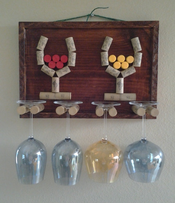 I could make this!!! Decorative Wine Glass Holder by GulfCoasters on Etsy, $43.00