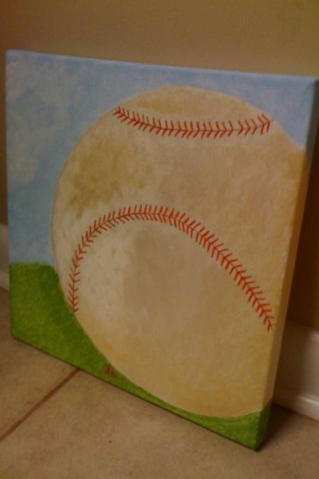 Baseball canvas painting www.fleurdeanie.com Or Facebook.