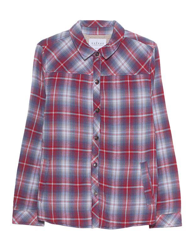Hemdjacke mit Teddy-Futter Das gerade geschnittene rot-blau karierte Hemd ist aus einem weichen Baumwoll-Mix gefertigt und kommt mit Eingrifftaschen und wunderbar kuscheligem Teddy-Plüsch-Futter.  Ein echtes Highlight an kalten Tagen!
