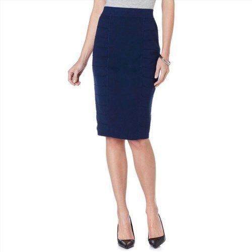 57.40$  Watch here - http://visna.justgood.pw/vig/item.php?t=iu37h025953 - Wendy Williams Stretch Knit Elastic Waist Fit Slim Skirt Cobalt M NEW 401-666