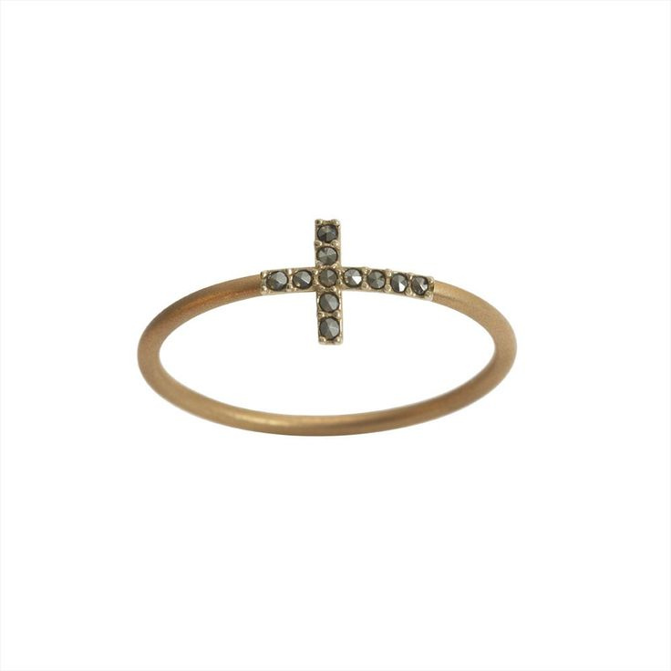 Feidt Paris Cross Open Ring in 18K Gold and Diamonds LN98XFK