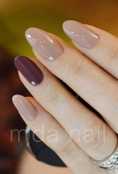 beautiful nails love this colour combination nude and burgundy color