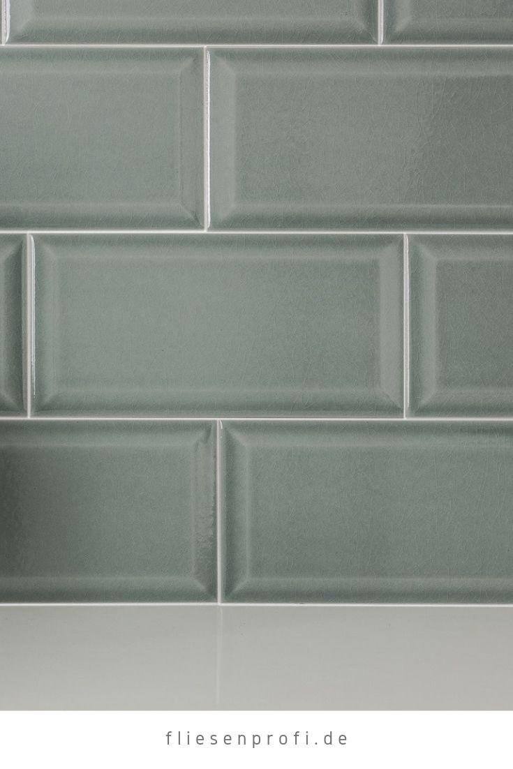 Metro Fliese Küche Bad Craquelé Krakelee grau-grün glänzend 10×20 Facettenfliese 29,90 €/m² *