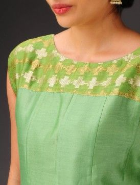 Green Sleeveless Chanderi Kurta with Brocade Yoke