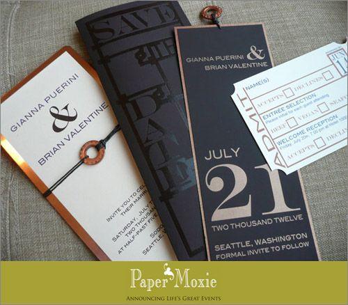Industrial steampunk inspired copper wedding invitations | junebugweddings.com