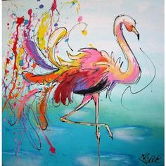 Kleurrijk en vrolijk flamingo schilderij van een flamingo die ontspannen in het water staat. - Colorful and cheerful painting of a flamingo flamingo relaxed state in the water.