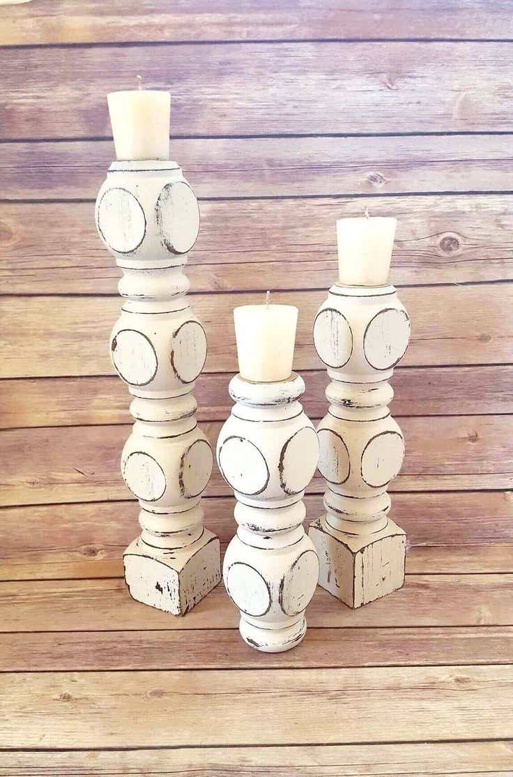White Candle Holders Wood Pillar Column Farmhouse Up Cycled Eco Friendly READY TO SHIP by CraftyMcDaniel on Etsy https://www.etsy.com/listing/528715303/white-candle-holders-wood-pillar-column