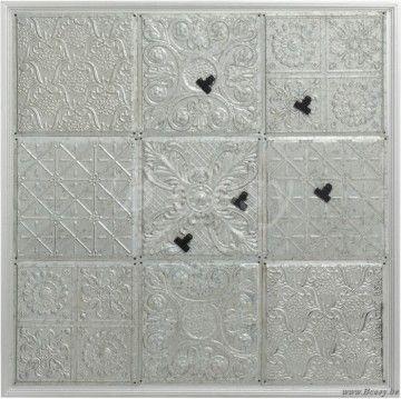 J-Line Zilveren magneetbord met 9 tegels in zilverkleurig metaal zilver 95