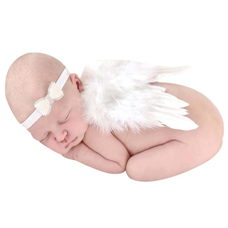 Newborn Baby Angel Photo Props Baby Girls Angel Wings Set White Feather Newborn Costume Photography Props with Headware