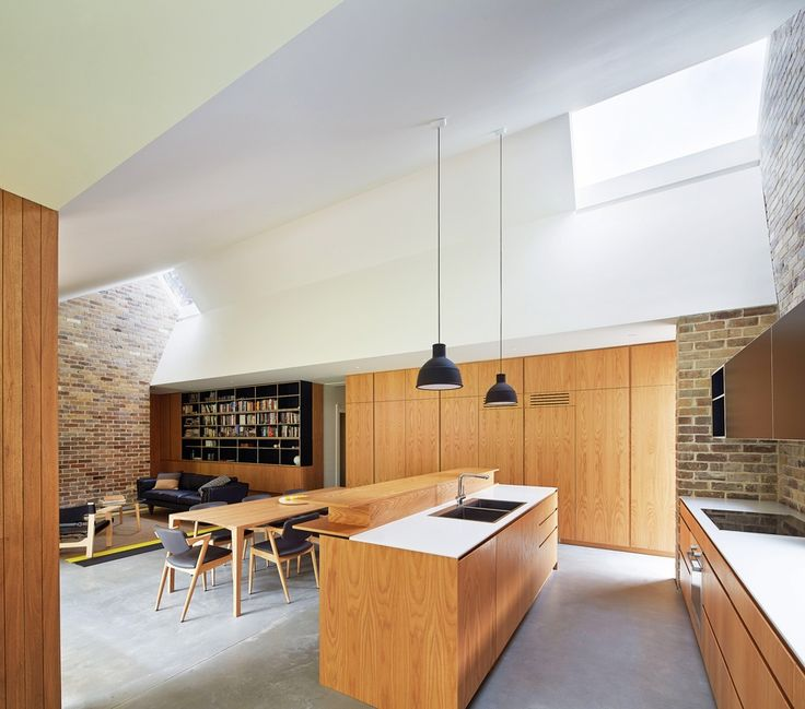 Let there be light: Skylight House | ArchitectureAU Form Ply and veneer joinery, exposed brick and polished concrete floors. Timber cladding and decking.