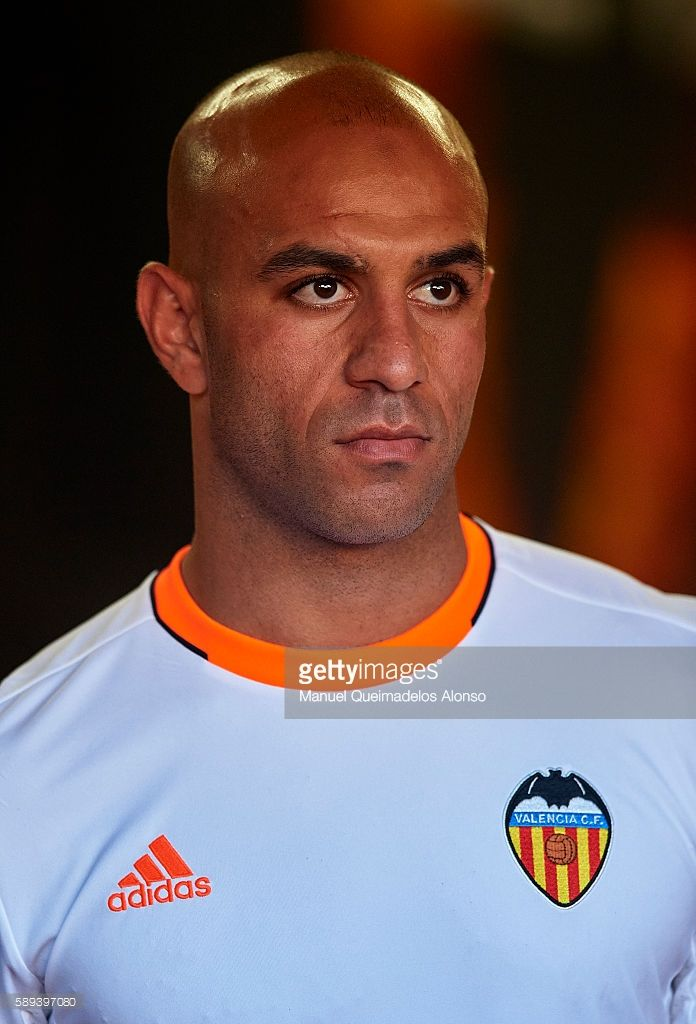 Aymen Abdennour of Valencia looks on during the team official presentation ahead of the pre-season friendly match between Valencia CF and AC Fiorentina at Estadio Mestalla on August 13, 2016 in Valencia, Spain.