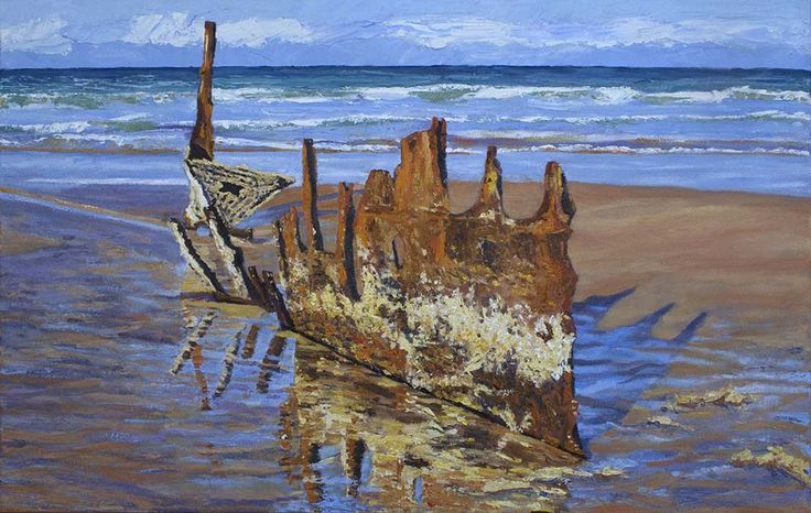 SS Dicky - Beached Remains.  Oil on Canvas.  66cm x 101cm.