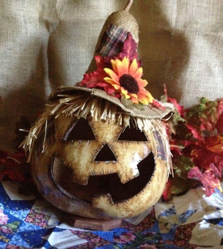 Awesome fall scarecrow gourd