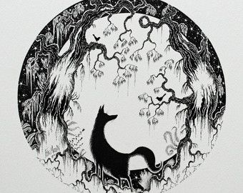 Illustrazione originale di Fox e fox e Luna sagoma disegno e penna e inchiostro fox e bianco e nero fox disegno e la volpe e la luna
