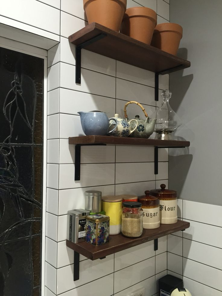 Kitchen shelves built from recycle jarrah from a demolition house in North Perth.