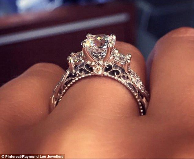Most popular: An 18 Karat white gold ring from Raymond Lee Jewelers (pictured) has over 77,000 pins on Pinterest, making it the most popular engagement ring on the site
