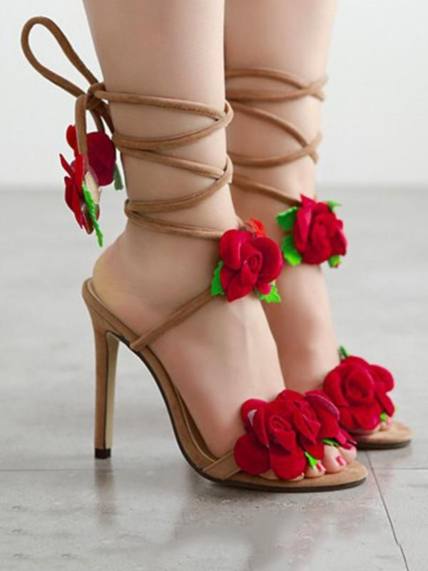 78ba14135 Floral Bandage Decorated Heels Shoes | Bohemian fashion | Shoes ...