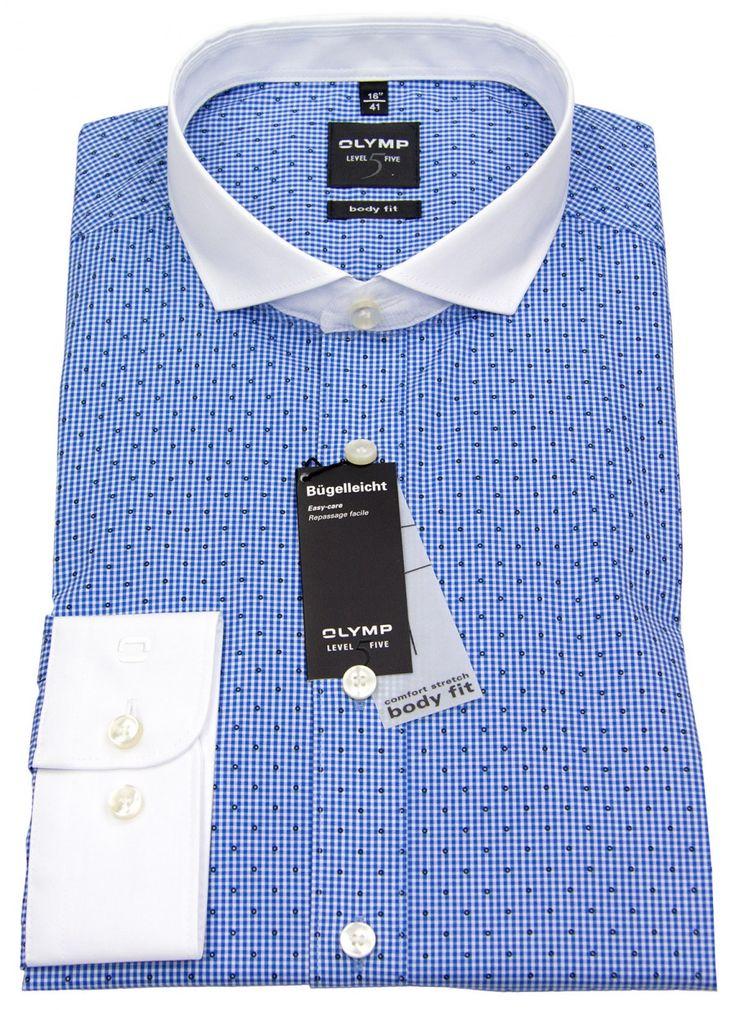 Olymp Hemd - Level 5 - Kontrastkragen - blau / weiß gemustert | hemdenbox.de