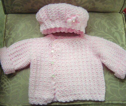 baby sweater and cap.