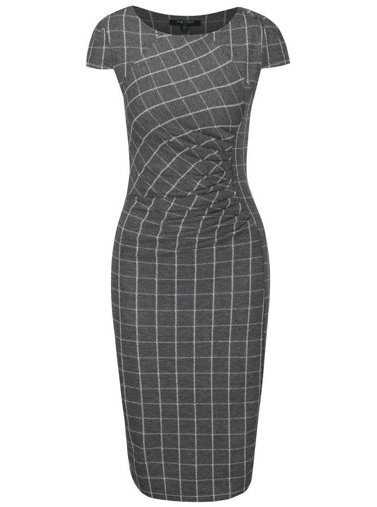 Šedé kostkované šaty s řasením v pase Fever London Highlands
