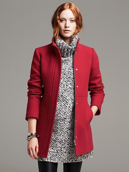Banana Republic Womens Red Wool Coat Size 10 Petite - Red $250.00