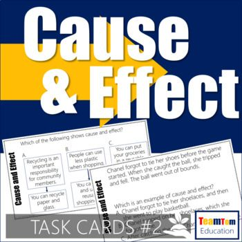 Cause and Effect Task Cards for 3rd, 4th, and 5th grade readers! These task cards focus on scaffolding students into understanding how to identify cause and effect. There is a mix realistic fiction and informational paragraphs for students to read and determine cause and effect.These cause and effect task cards are designed to quickly increase reading comprehension...This is no mere matching worksheet!