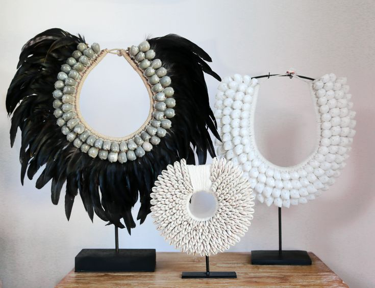 Cowrie Shell Tribal Necklace -  Feather Version