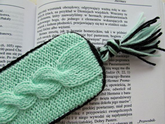 Unique Bookmark Light Green Bookmark Knit by MyRainbowColors