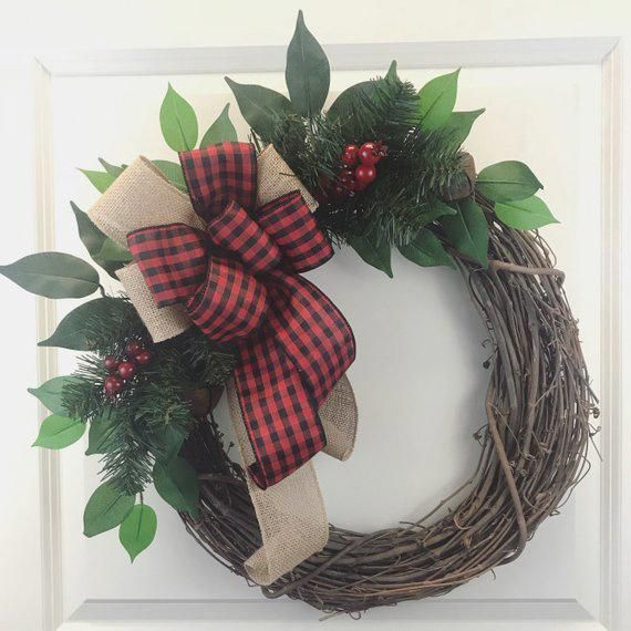 Rustic christmas wreath Buffalo plaid christmas wreath for the