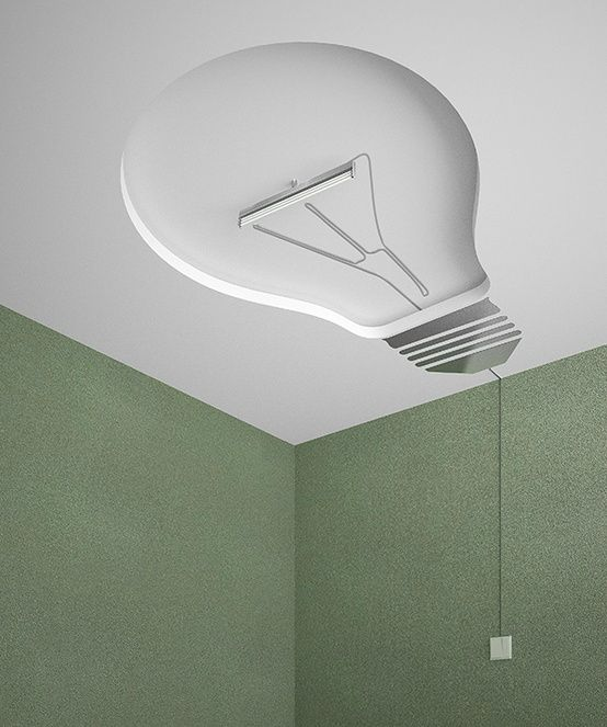 modern design light bulb on the ceiling