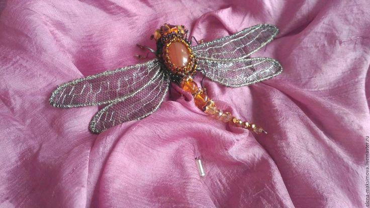 Купить Брошь стрекоза Рыжая Соня - бежевый, брошь, авторская брошь, брошка, авторские украшения