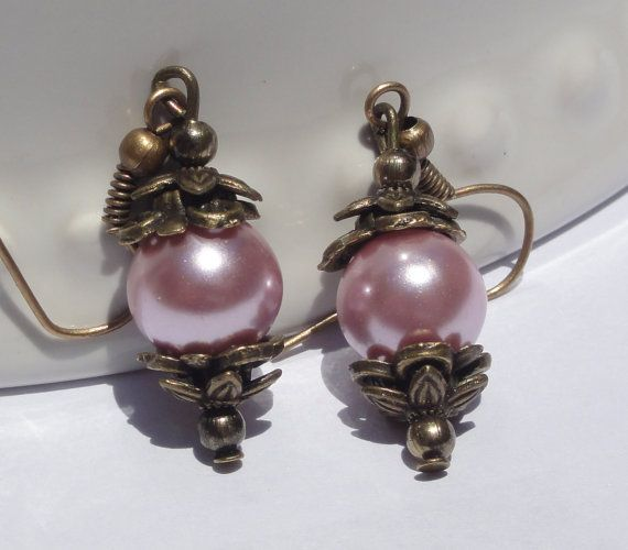 Wedding Earrings Bridesmaid gift Pearl by Stunning Gems Jewelry Pink Wedding jewelry Wedding Jewelry Bridesmaid Jewelry Flower Girl Jewelry Bridesmaid Jewelry Gift Flower Girl Jewelry Gift