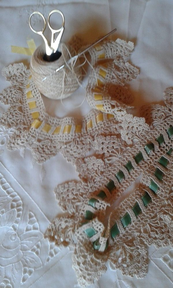 Pizzo/bordo/merletto uncinetto nuovo fatto a mano 3/crochet lace hand made