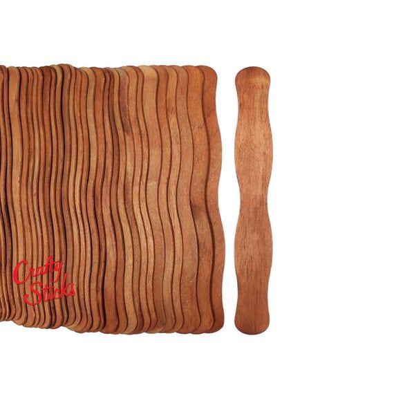 50 Wavy Jumbo Wood Craft Sticks Wedding Fans Cherry Stain Craft Stick Crafts Wood Crafts Wedding Fans