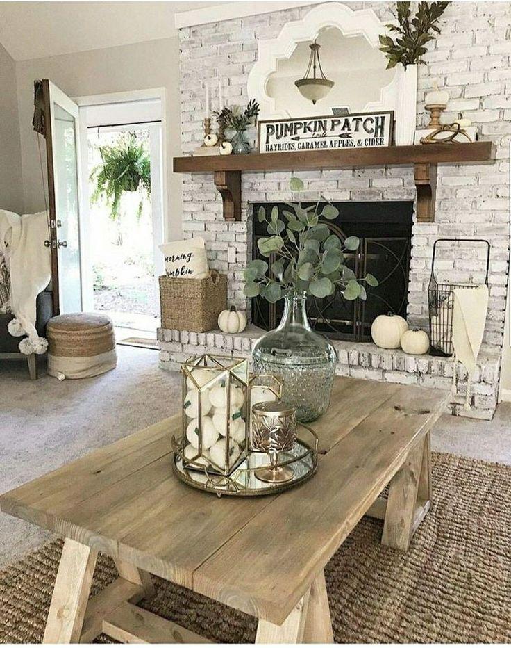 20+ Creative Rustic Brick Fireplace Living Room Decor Ideas