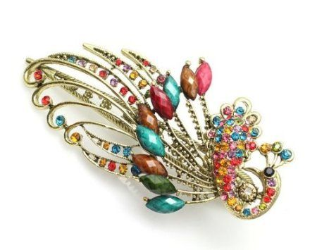Amazon.com: Lovely Vintage Jewelry Crystal Peacock Hair Clips Hairpins C- for hair clip Beauty Tools: Beauty