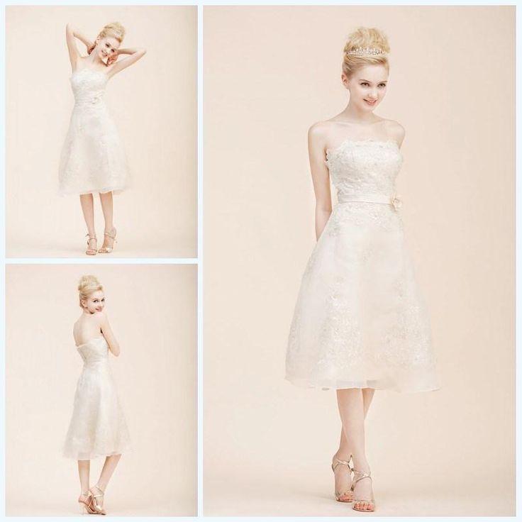 Wholesale Wedding Dress - Buy Sparkle A-Line Short Wedding Dress with Lace Sash Knee Length Organza 2015 Wedding Dresses, $98.85 | DHgate.com