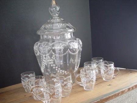 Victorian Punch Bowl, Lid, Glasses   Moser, enameled design