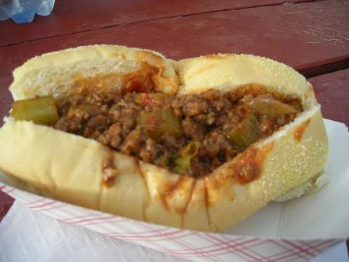 Slide 38 of 50: RHODE ISLAND: This tiny state is home to a very big sandwich. The Dynamite, which hails from Woonsocket, is a sloppy joe burger made with onions, bell peppers, and celery. Be careful — it is spicy.