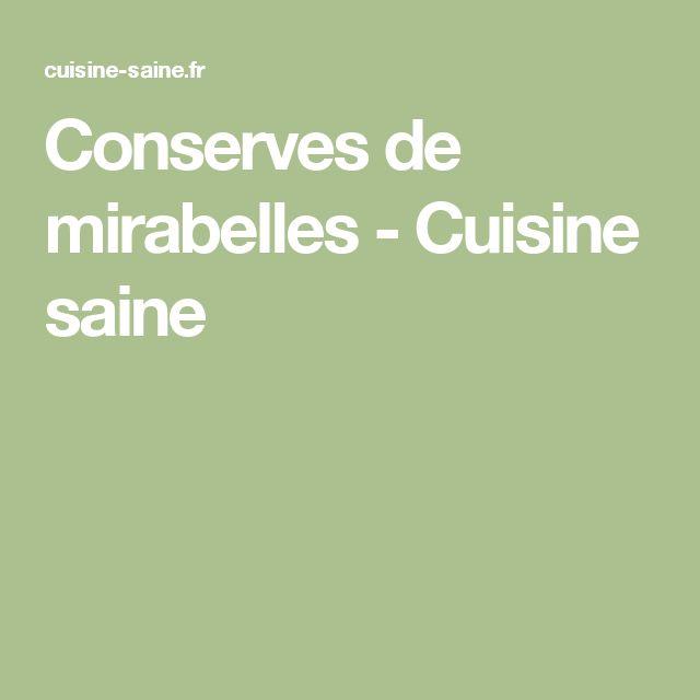 Conserves de mirabelles - Cuisine saine