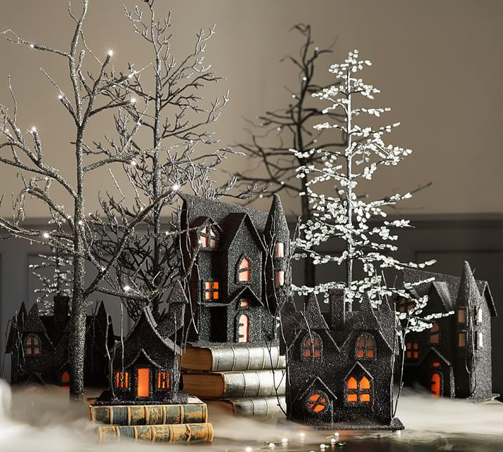 black glitter trees and spooky houses halloween pottery barn - Pottery Barn Halloween Decor