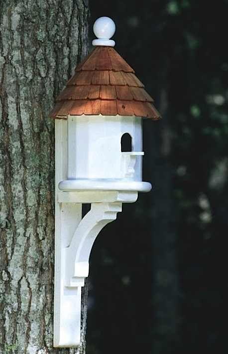 Architectural Vinyl Birdhouse with Flush-Mount Decorative Bracket