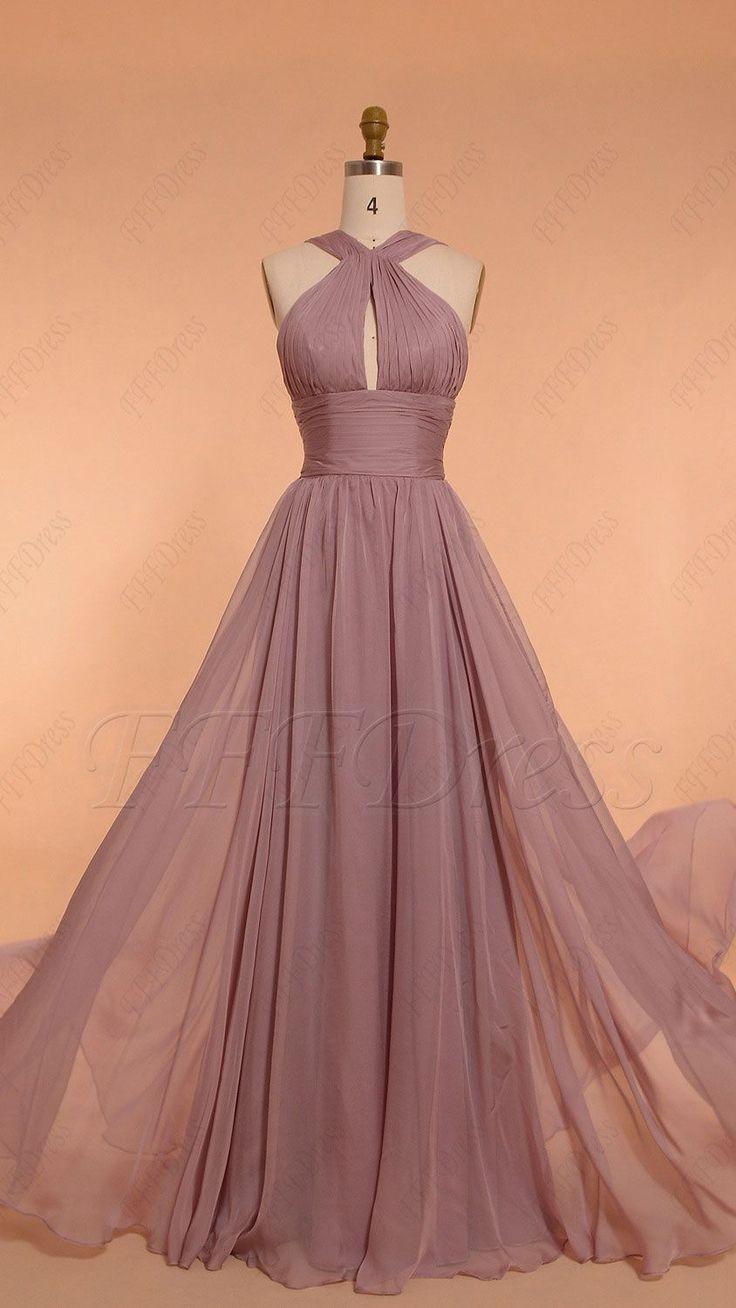 Halter wisteria purple bridesmaid dresses - Ellise M