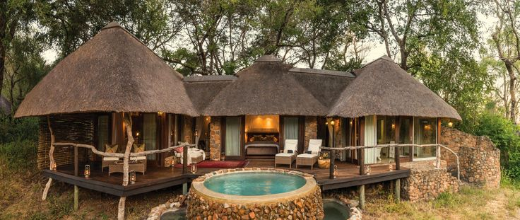 Dulini is a small sophisticated lodge. Each cottage has its own plunge pool and deck overlooking the dry riverbed. From here you can often see wildlife roaming - #SabiSand Game Reserve, #SouthAfrica